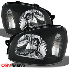 Fits 03-06 Santa Fe Black Bezel Replacement Headlights Headlamps Left + Right