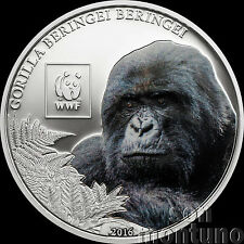 2016 Tanzania - MOUNTAIN GORILLA  Colorized Silver Plated COPPER Coin WWF Africa