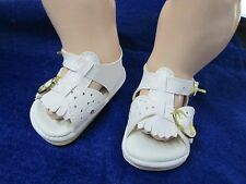 Doll Shoes - 85mm WHITE SANDALS Fringe Front & 2 Buckles  AB5