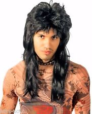 Men's Fancy Dress Costume Wig 80's Rock Star Bogan Mullet Quality Black washable