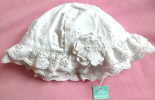 Monsoon baby girls white embroidery anglaise sunhat age 3 6 9 mths NEW sun hat