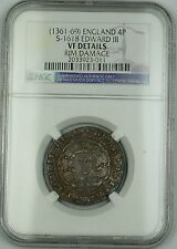 (1361-69) England Groat 4P Coin S-1618 Edward Iii Ngc Vf Details Rim Damage Akr