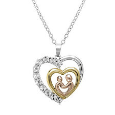 Tri Colored Sterling Silver and Diamond Mother and Child Heart Pendant