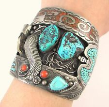 Huge LENNIE PARKER Navajo Sterling Silver Turquoise Coral Claw Cuff Bracelet J
