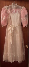 Vintage Wedding Gown Antique Ivory with net overlay, tea-length, Size16 with Sho