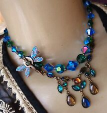 Vintage 3 Pc Dragonfly Brooch & Teal Crystal Collar SAQ Chandelier Necklace Lot