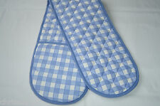 Double Oven Gloves.  Blue and White Check