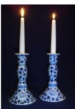 Sea Island Imports Blue and White Porcelain Coriander Candlestick Holders