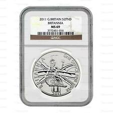 New 2011 UK Great Britain Silver Britannia 1oz NGC MS69 Graded Slab Coin