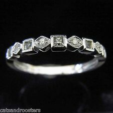 Diamonds Gemstones Round Square Cut 14k White Gold Wedding Anniversary Band Ring