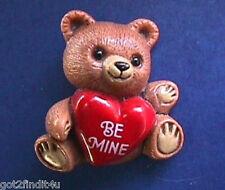 BUY1&GET1@50%~Hallmark PIN Valentines BEAR Brown TEDDY Be Mine HEART Vtg Brooch
