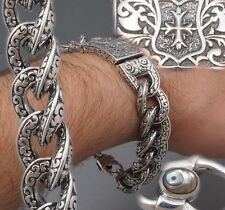 "7.5"" 89g HEAVY CURB LINK CELTIC CROSS AXE 925 STERLING SILVER MENS BRACELET PRE"
