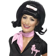 Women's Black Flicked Beehive Bob Wig 40's 50's Classy Hen Grease Pink Lady Fun