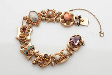 Antique 1940s 10ct Natural Coral Turquoise Pearl 14k Gold Slide Charm Bracelet 7