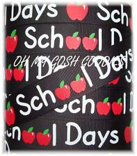 7/8 BACK TO SCHOOL DAYS APPLE CHALKBOARD GROSGRAIN RIBBON TEACHER 4 HAIRBOW BOW