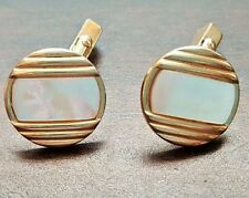 SWANK Round Mother of Pearl & Gold Tone Circle Angled Cuff Links vintage EUC