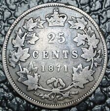 1871 H CANADA - 25 CENTS SILVER - Victoria - Nice Coin - Appears to be OQ1 OBV1