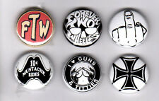 FOREVER TWO WHEELS FTW IRON CROSS HAT JACKET LAPEL PINS BADGES 1%er outlaw biker
