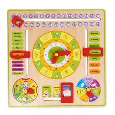 Baby Kids Educational Wooden Calendar Toy Clock Date Weather Chart Toddler Gift