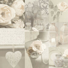WOW! Shabby Chic Charlotte Neutral Heart Love Feature Wallpaper 665203 Arthouse