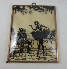 """Vintage Silhouette Reverse Painted Bubble Glass Ballerina & Performer 4"""" x 5"""" #1"""