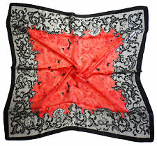 Red Black Rose Print Fine Pure Silk Square Scarf - New (Z40)