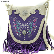 BFE PURPLE BUTTERFLY WESTERN RHINESTONE HIPSTER CROSSBODY BAG Concealed WEAPON