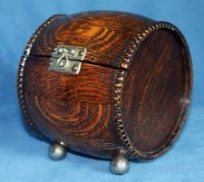 Vintage Antique Style Oak Wine / Beer Barrel Wood Hinged Trinket Jewelry Box