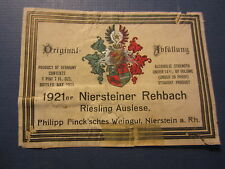 Old 1921 - Niersteiner Rehbach Riesling Auslese - GERMAN WINE LABEL - Germany