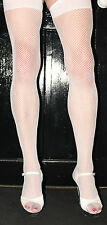 Extra Long White Standard Fishnet  Stockings with Plain Narrow Welt/Top