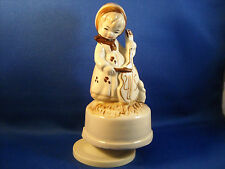 "VINTAGE 1970'S BROWN & IVORY GIRL W/ VIOLIN MUSIC BOX  ""FEELINGS""  6 3/4"" TALL"