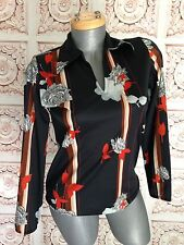 VINTAGE 70s 1970s Disco Polyester Shirt Top Women's Black Flowers Size S Small