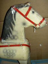Large heavy, antique wood rocking horse, ride-on sturdy dapple grey pony