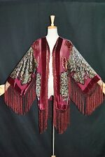 Hippie Peacock Duster Kimono Opera Coat Silk Burnout Velvet Burgundy Multi Short
