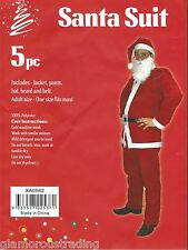 SANTA SUIT (5 PIECE) ADULT FATHER CHRISTMAS FANCY DRESS SET