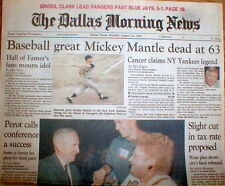 1995 headline newspaper New York Yankee baseball star MICKEY MANTLE is DEAD at63