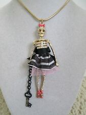 NWT Auth Betsey Johnson Prisoner of Love Skeleton Jailbird Long Pendant Necklace