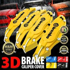 New 3D Yellow Brembo Style Universal Disc Brake Caliper Cover 4pcs Front&Rear W4