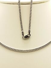 18k Solid White Gold Italian Flat Curb Necklace/ Chain 3.46 Grams