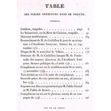 ŒUVRES de CRÉBILLON Catilina Mort de Cicéron Éloges Maréchal de Villars 1831 T3