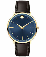 *BRAND NEW* Movado Men's Ultra Slim Brown Leather Strap Blue Dial  Watch 0607088