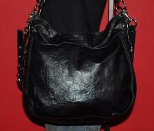 "COACH ""ZOE"" Large Black Patent Leather Hobo Crossbody Tote Purse Bag #15471"