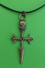 "Bronze Skull On Cross Gothic  24"" Black Cord Pendant Necklace"