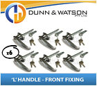 Chrome Plated Front Fixing 'L' Lock / Handle (Trailer Caravan Canopy Toolbox) x6