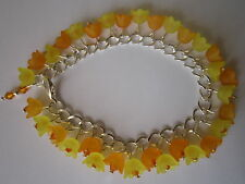 Orange n Yellow Lucite Flower Charm Bracelet - Silver Plated - Oranges n Lemons
