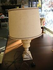 "Vintage Marble Table Lamp with Shade 24"" Sold in AS/IS CONDITION SEE THE PHOTOS."