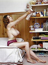 60s Nude Pinup holding teddy bear on bed with stupendous breast 8 x 1 Photograph