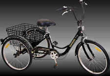 "Komodo 3 wheels Adult 24"" Tricycle 6 speed Black"