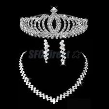 Bridal Wedding Prom Jewelry Set Crystal Headband Tiara Crown Necklace Earrings