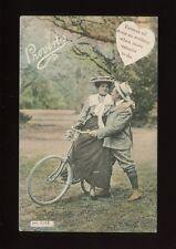 CYCLING Romance Bicycles Lady & Suitor Proverb Used 1907 PPC by J Welch